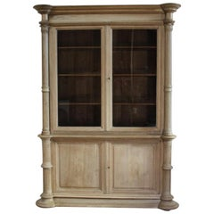 19th Century English Bleached Oak Bookcase