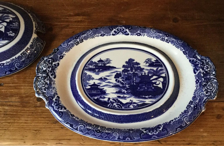 Ceramic 19th Century English Blue and White Soup Tureen Copeland