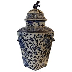19th Century English Blue and White Transferware Porcelain Lidded Potpourri Vase