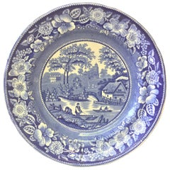19th Century English Blue and White Wild Rose Plate