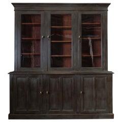 19th Century English Boardroom Mahogany Painted Glazed Bookcase