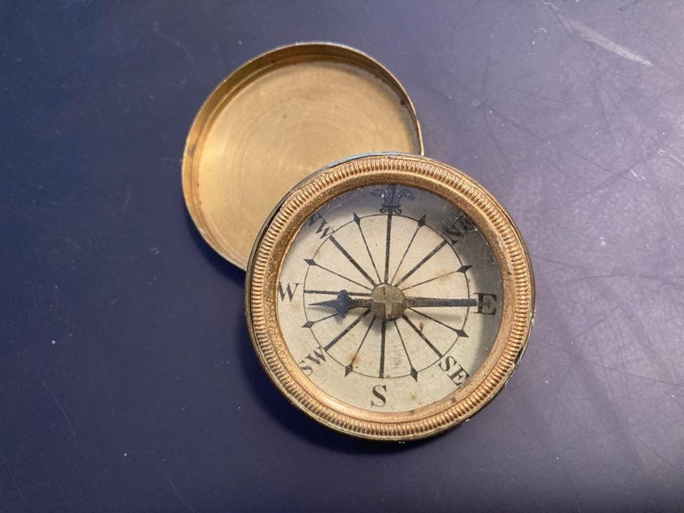 19th Century English Brass Pocket Box Compass For Sale 5
