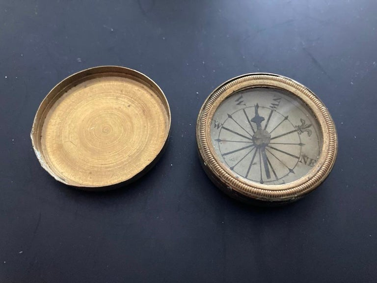 19th Century English Brass Pocket Box Compass For Sale 6