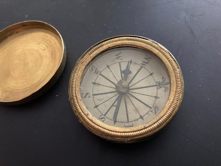 19th Century English Brass Pocket Box Compass For Sale 7