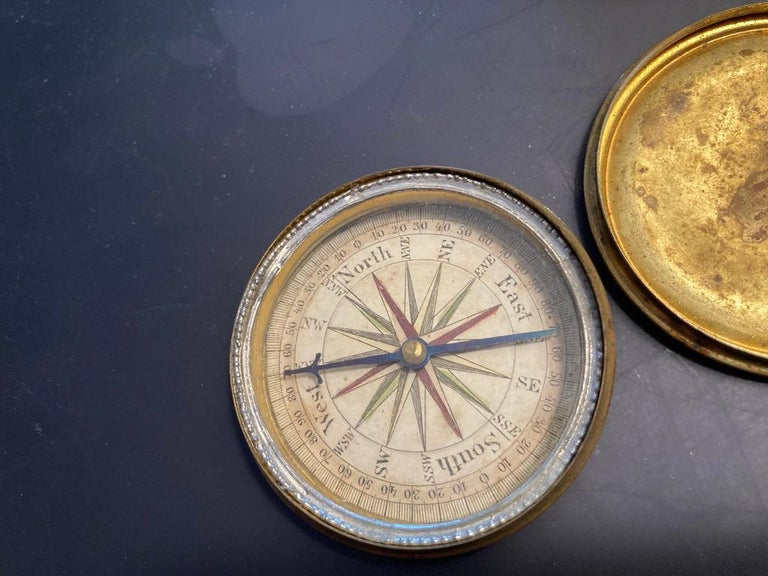 Hand-Crafted 19th Century English Brass Pocket Box Compass For Sale