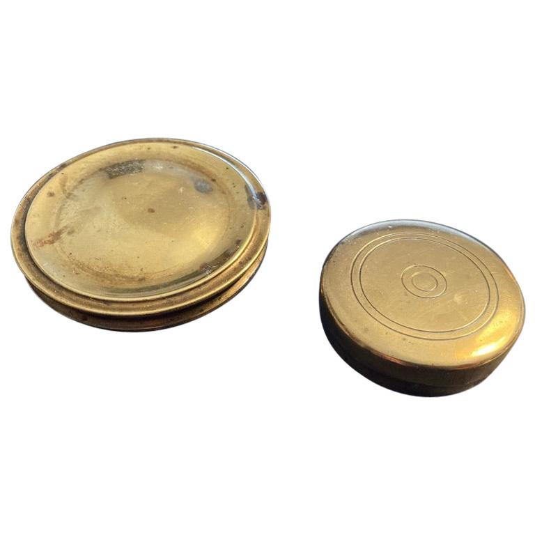19th Century English Brass Pocket Box Compass For Sale