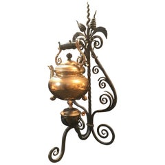 19th Century English Brass Tea Kettle Warmer Rare Wrought Iron Stand
