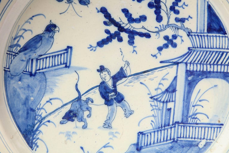 19th century blue and white English platter, Bristol.