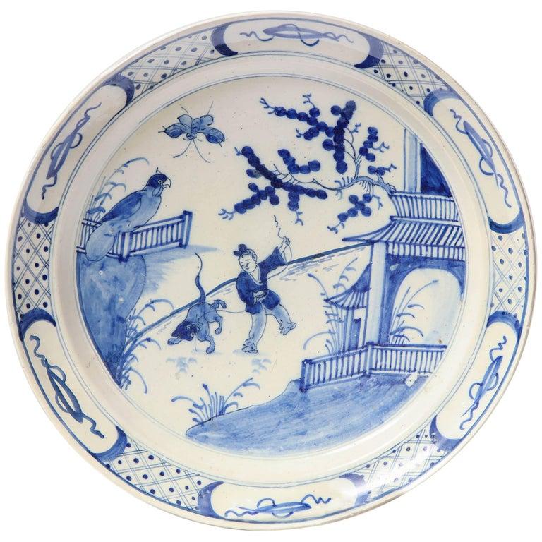 19th Century English, Bristol Platter For Sale