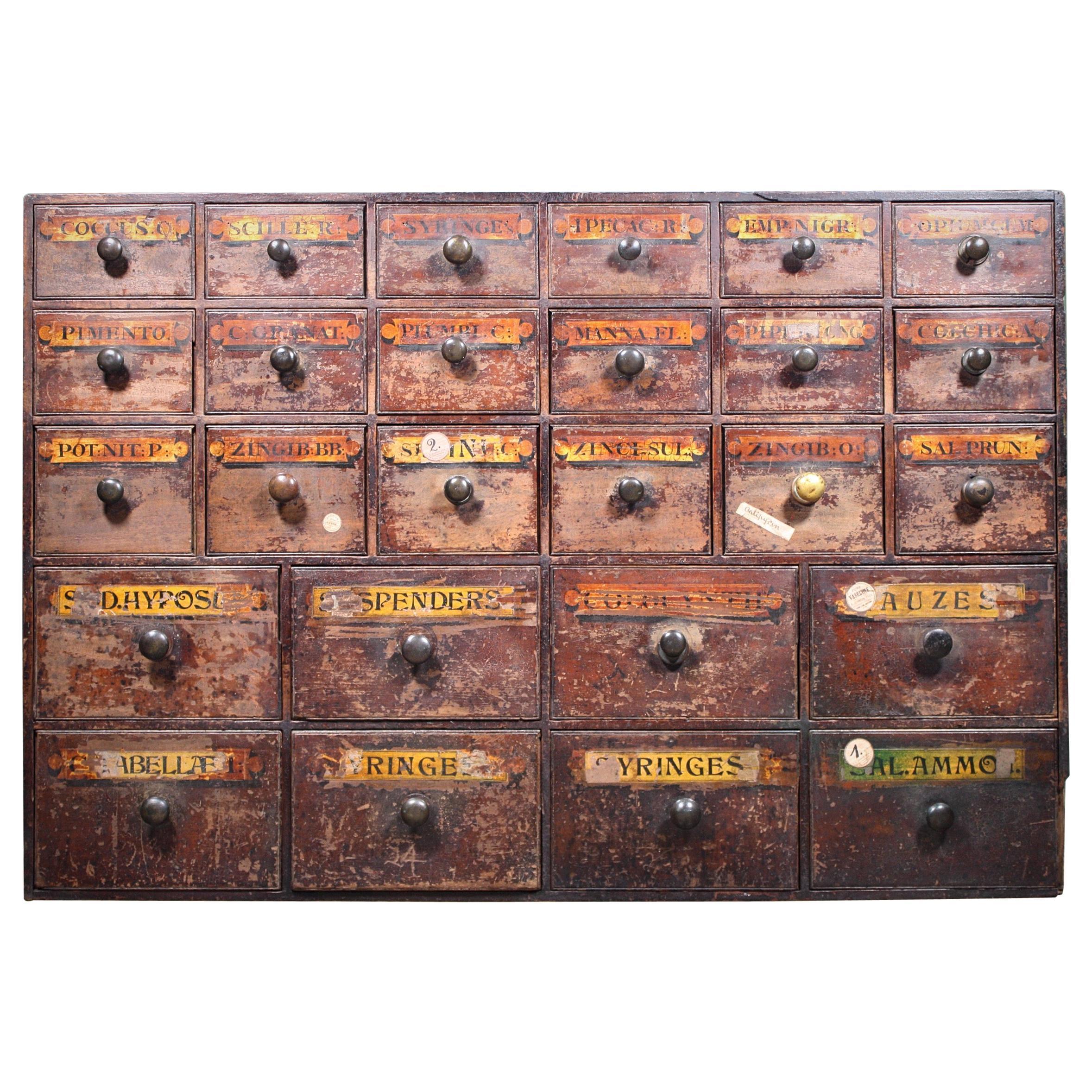 19th Century English Brixton London Chemist Apothecary Pharmacy Bank of Drawers