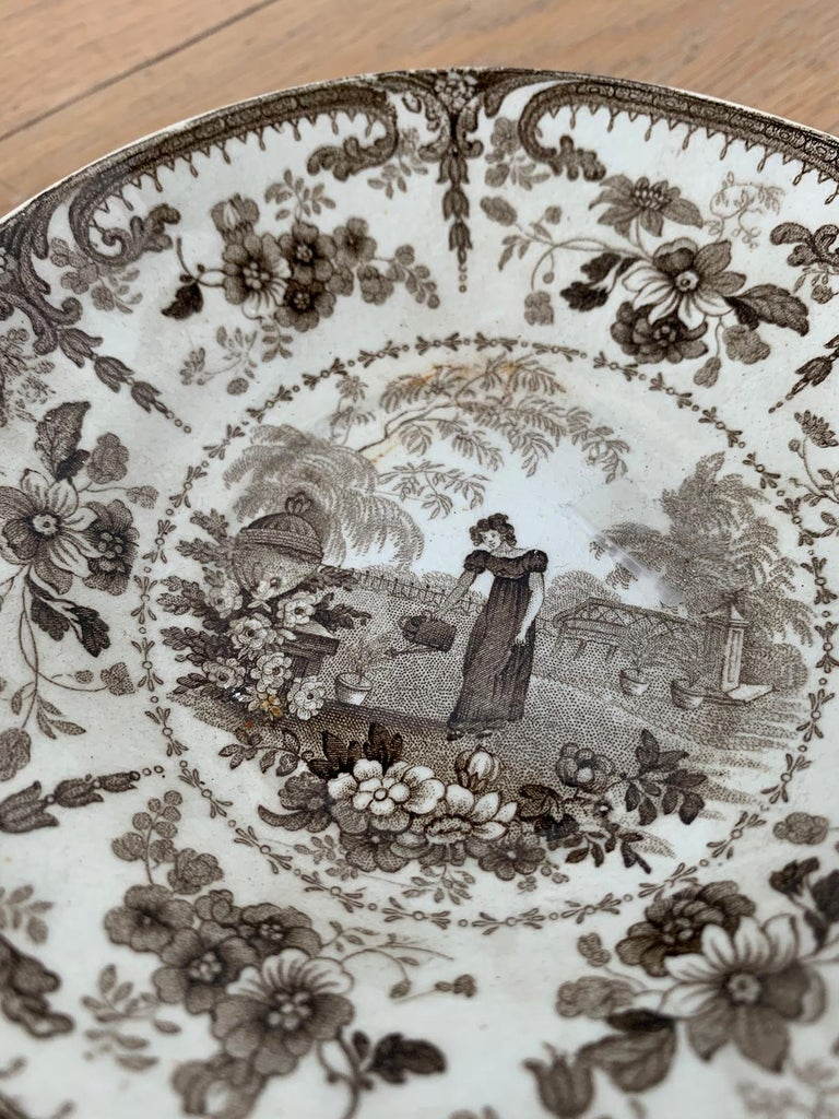 19th Century English Brown Transferware Porcelain Cup & Saucer with Factory Mark For Sale 7