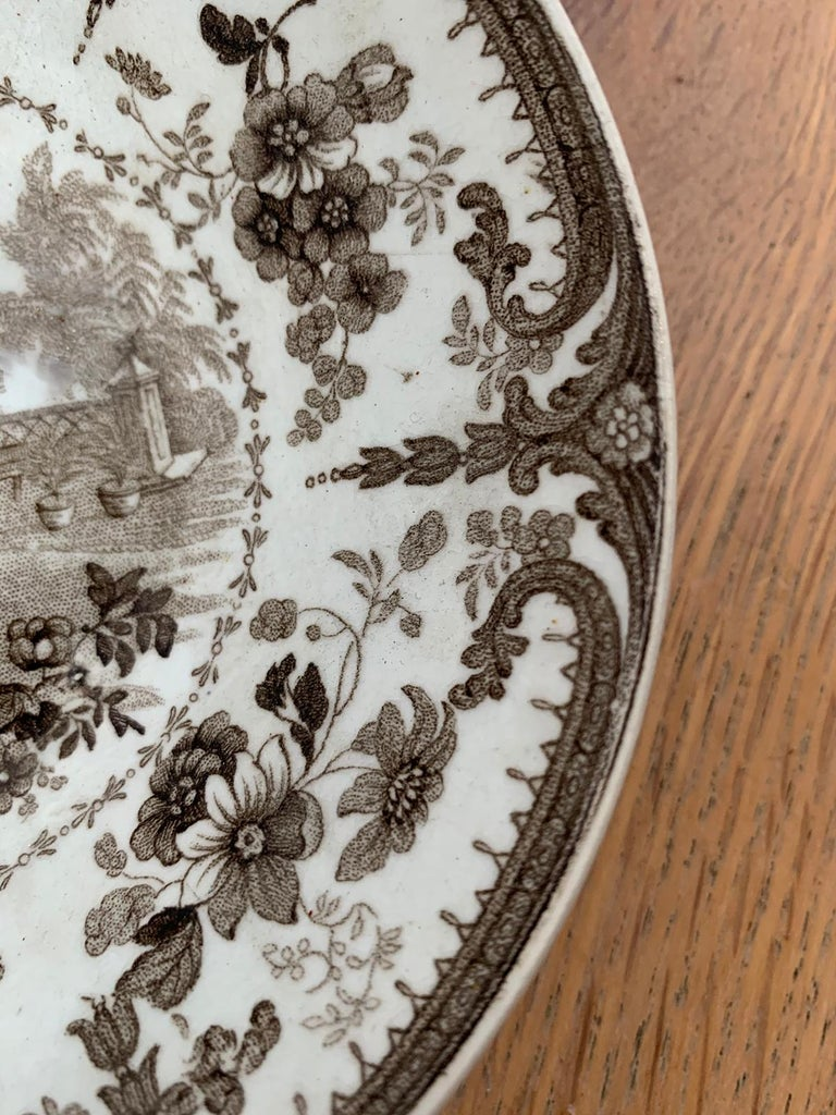 19th Century English Brown Transferware Porcelain Cup & Saucer with Factory Mark For Sale 8