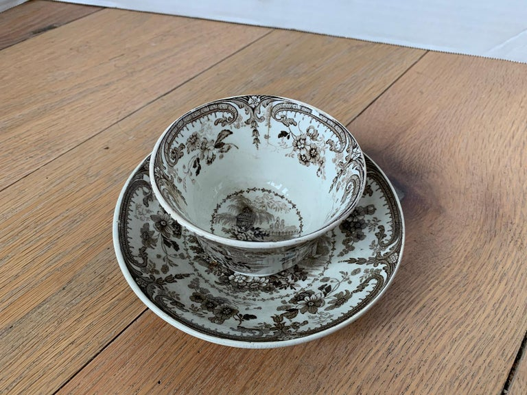 19th Century English Brown Transferware Porcelain Cup & Saucer with Factory Mark For Sale 9