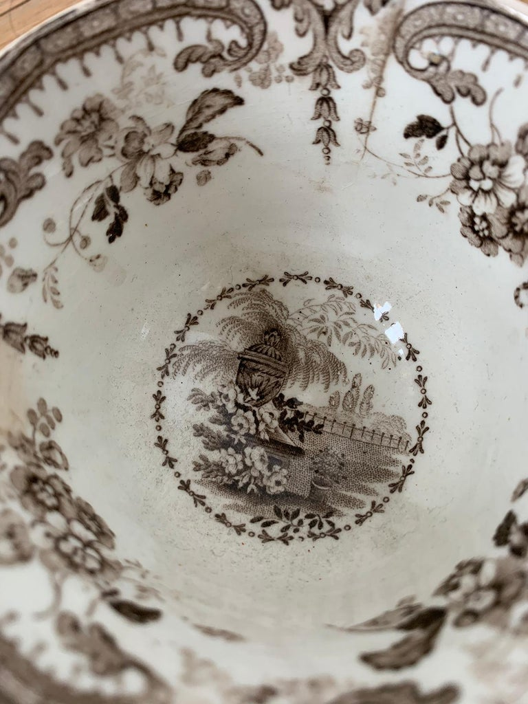 19th Century English Brown Transferware Porcelain Cup & Saucer with Factory Mark For Sale 10