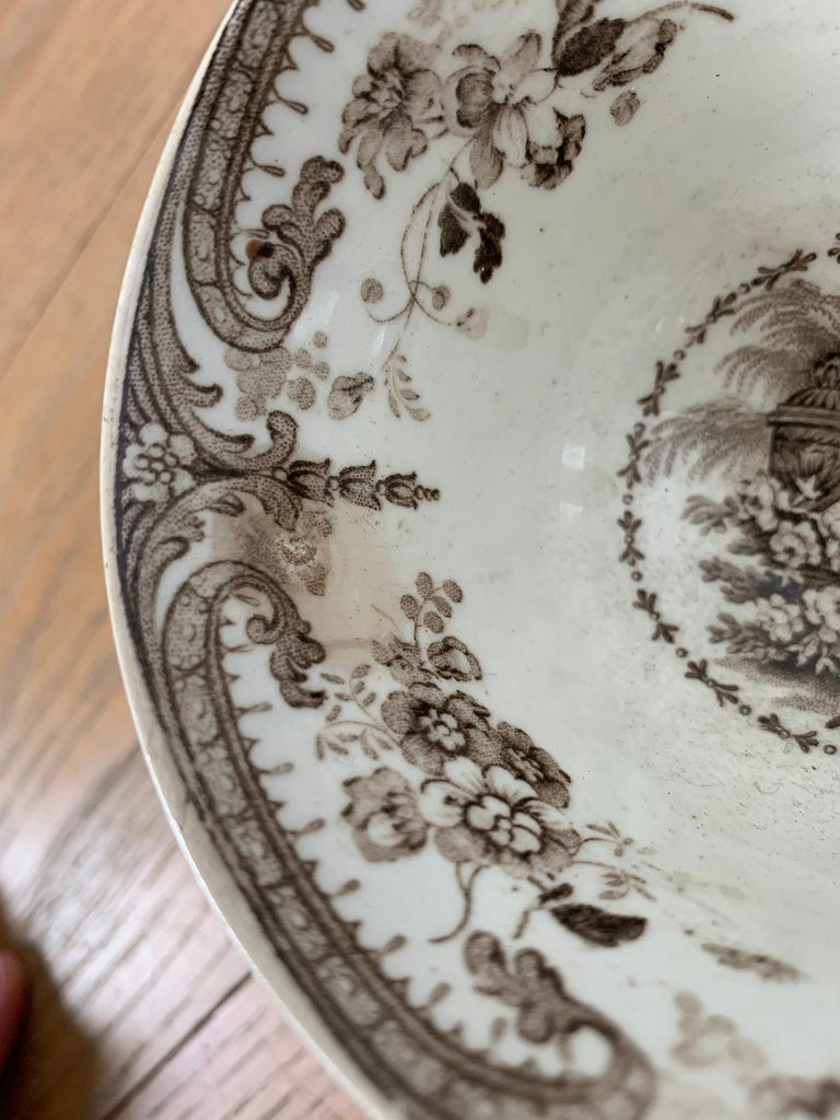 19th Century English Brown Transferware Porcelain Cup & Saucer with Factory Mark For Sale 11