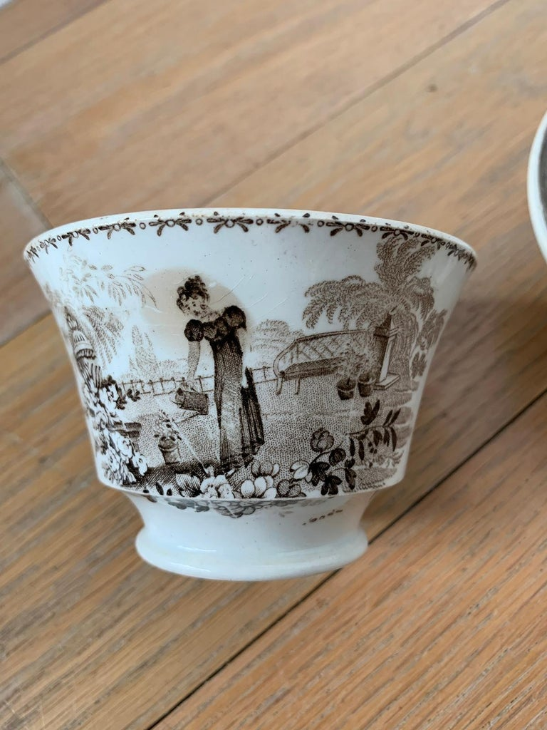 19th Century English Brown Transferware Porcelain Cup & Saucer with Factory Mark For Sale 12