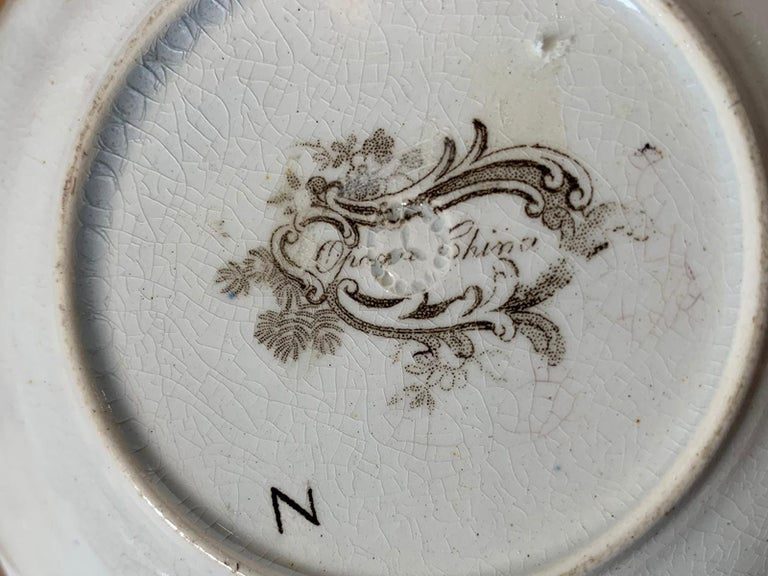 19th Century English Brown Transferware Porcelain Cup & Saucer with Factory Mark For Sale 1
