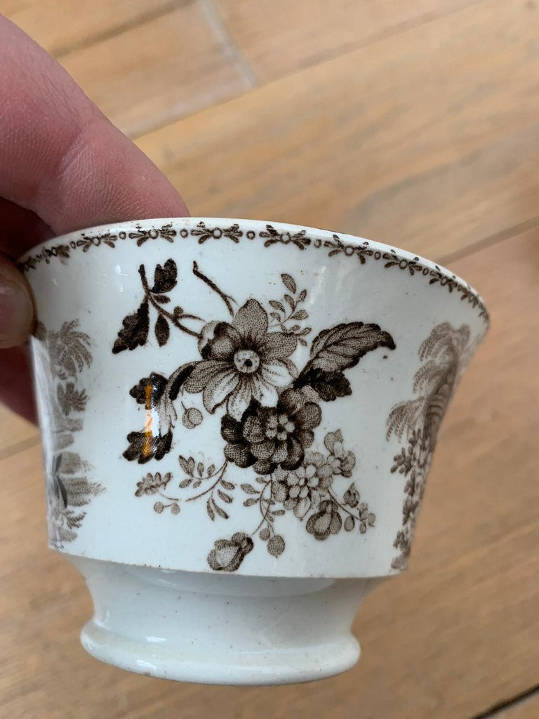 19th Century English Brown Transferware Porcelain Cup & Saucer with Factory Mark For Sale 3