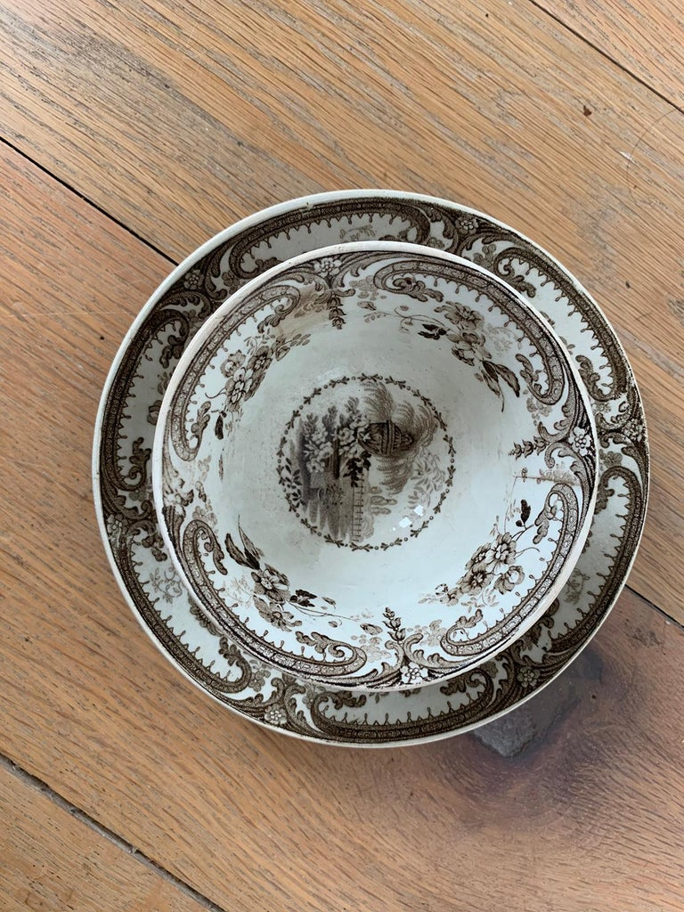 19th Century English Brown Transferware Porcelain Cup & Saucer with Factory Mark For Sale 4
