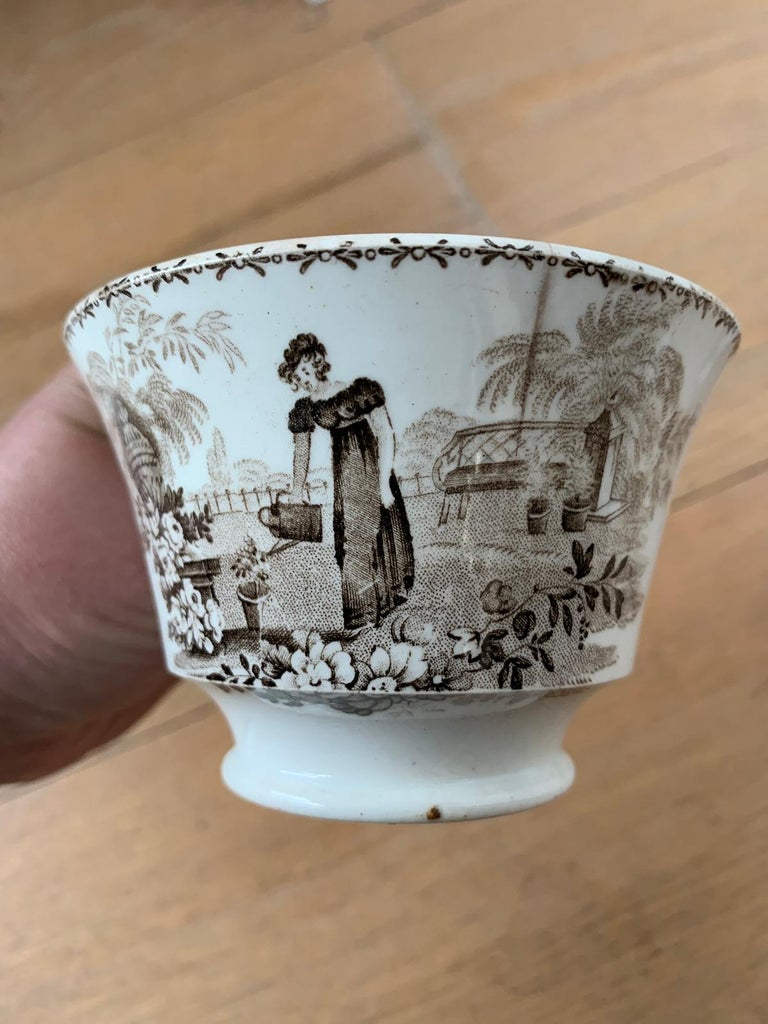 19th Century English Brown Transferware Porcelain Cup & Saucer with Factory Mark For Sale 5