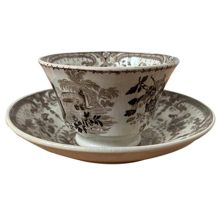 19th Century English Brown Transferware Porcelain Cup & Saucer with Factory Mark For Sale