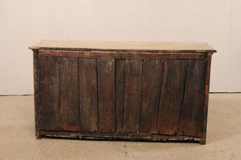 19th C. English 5.5 Ft Long Wooden Buffet Cabinet with Fluted Column Side Posts For Sale 6