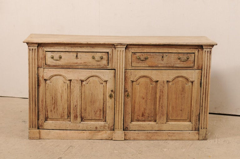 Carved 19th C. English 5.5 Ft Long Wooden Buffet Cabinet with Fluted Column Side Posts For Sale