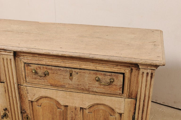 19th Century 19th C. English 5.5 Ft Long Wooden Buffet Cabinet with Fluted Column Side Posts For Sale