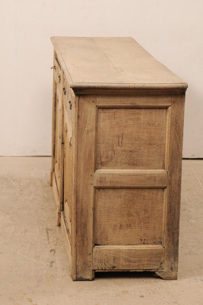 19th C. English 5.5 Ft Long Wooden Buffet Cabinet with Fluted Column Side Posts For Sale 1