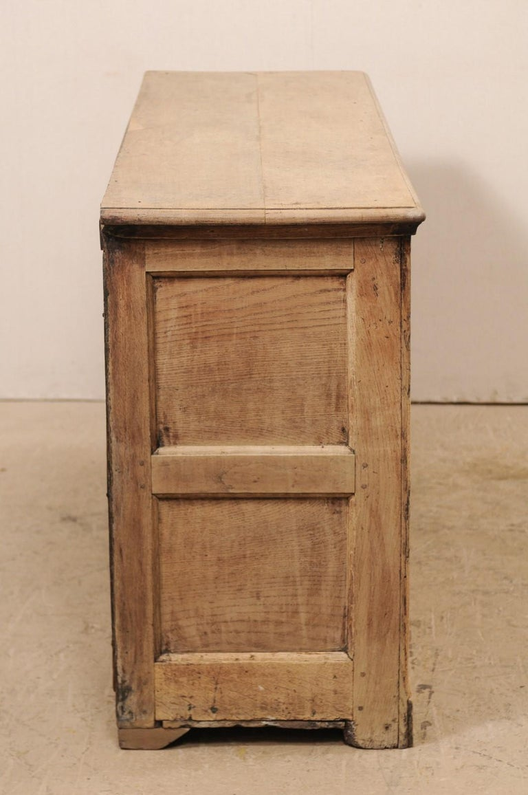 19th C. English 5.5 Ft Long Wooden Buffet Cabinet with Fluted Column Side Posts For Sale 2