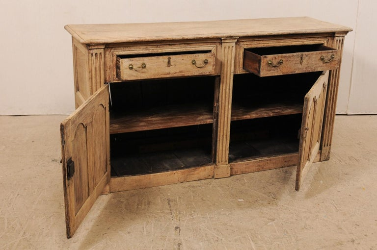 19th C. English 5.5 Ft Long Wooden Buffet Cabinet with Fluted Column Side Posts For Sale 3