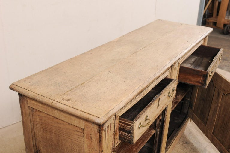19th C. English 5.5 Ft Long Wooden Buffet Cabinet with Fluted Column Side Posts For Sale 4