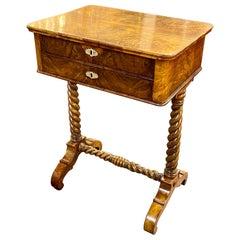 19th Century English Burl Walnut Side Table with Barley Twist Legs