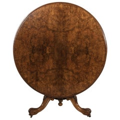 19th Century English Burl Walnut Tilt Top Entry Table, Center Hall Table