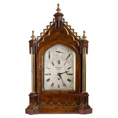 19th Century English Burl Wood Cathedral Style Victorian Gothic Mantel Clock