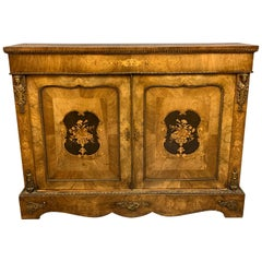 19th Century English Burr Walnut and Brass Mounted Pier Cabinet with Marquetry