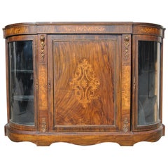 19th Century English Burr Walnut Credenza