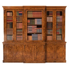 19th Century English Burr Walnut Library Breakfront Bookcase