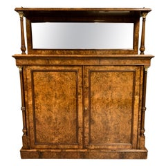 19th Century English Burr Walnut Mirror Back Sideboard with Brass Gallery Top