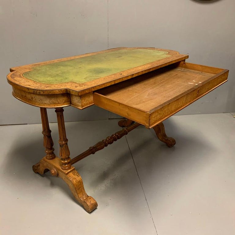 19th Century English Burr Walnut Writing Table with Sage Green Leather Top For Sale 5