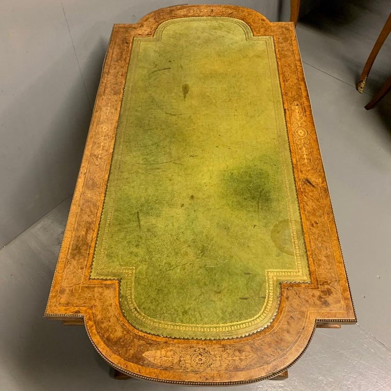 19th Century English Burr Walnut Writing Table with Sage Green Leather Top For Sale 6