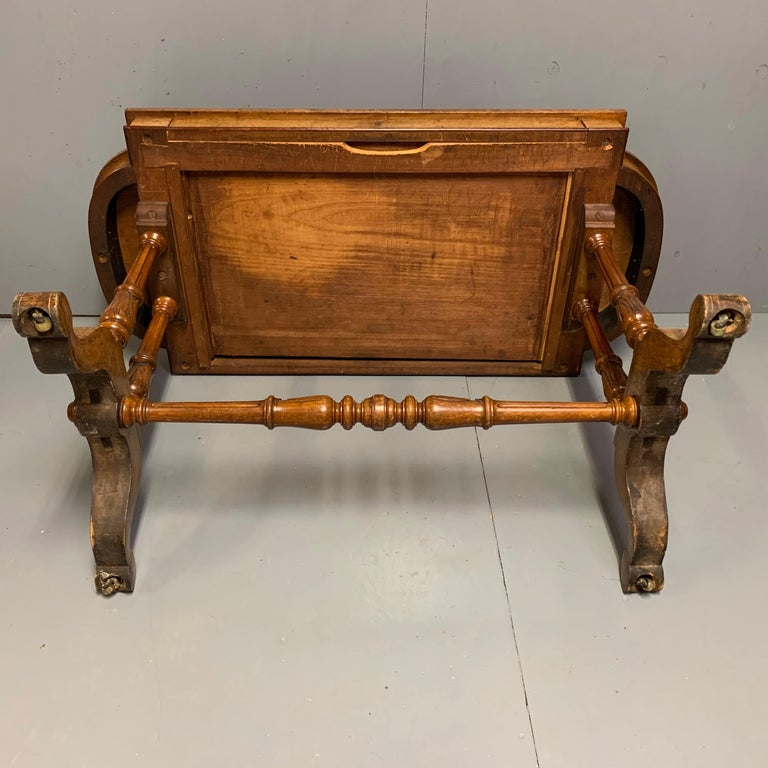 19th Century English Burr Walnut Writing Table with Sage Green Leather Top For Sale 7