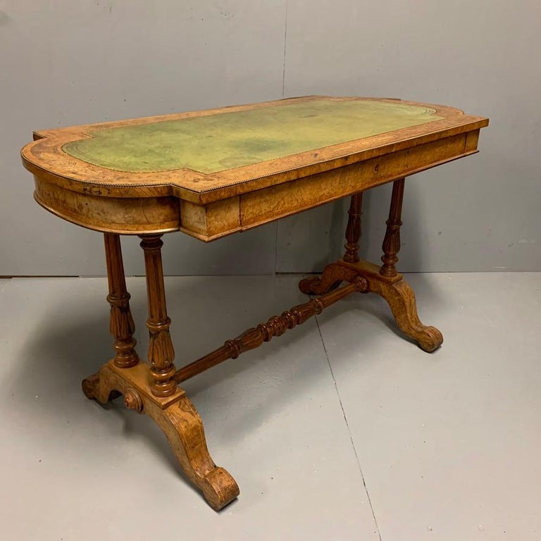 Victorian 19th Century English Burr Walnut Writing Table with Sage Green Leather Top For Sale