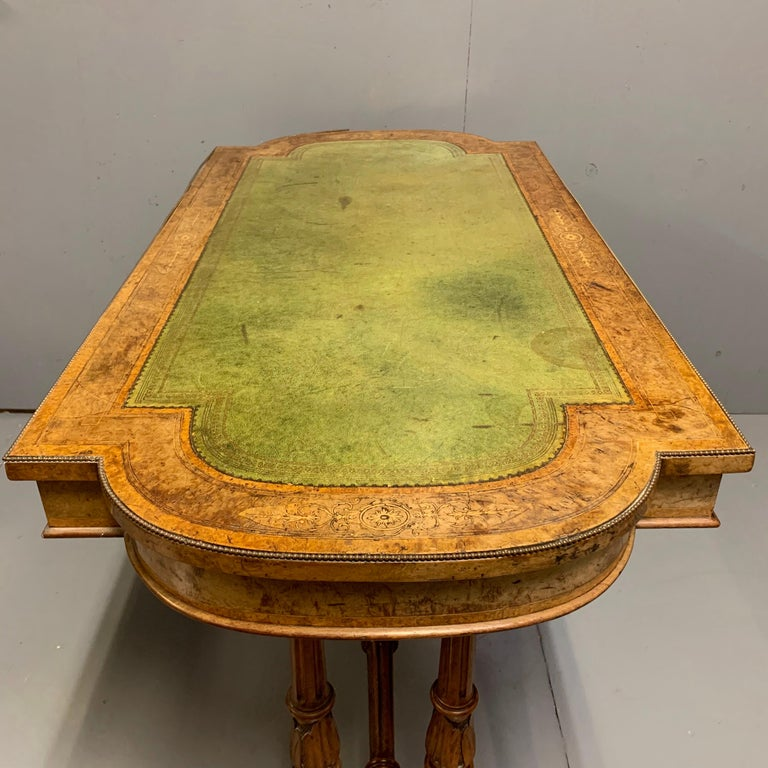 Brass 19th Century English Burr Walnut Writing Table with Sage Green Leather Top For Sale