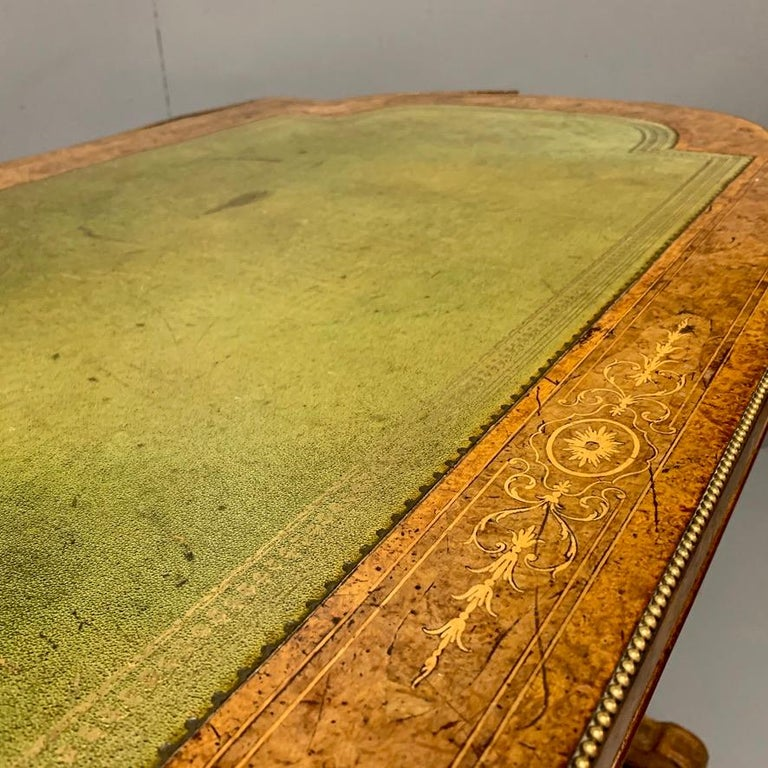 19th Century English Burr Walnut Writing Table with Sage Green Leather Top For Sale 1