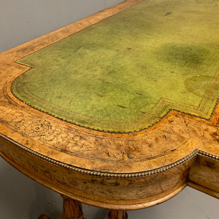 19th Century English Burr Walnut Writing Table with Sage Green Leather Top For Sale 2