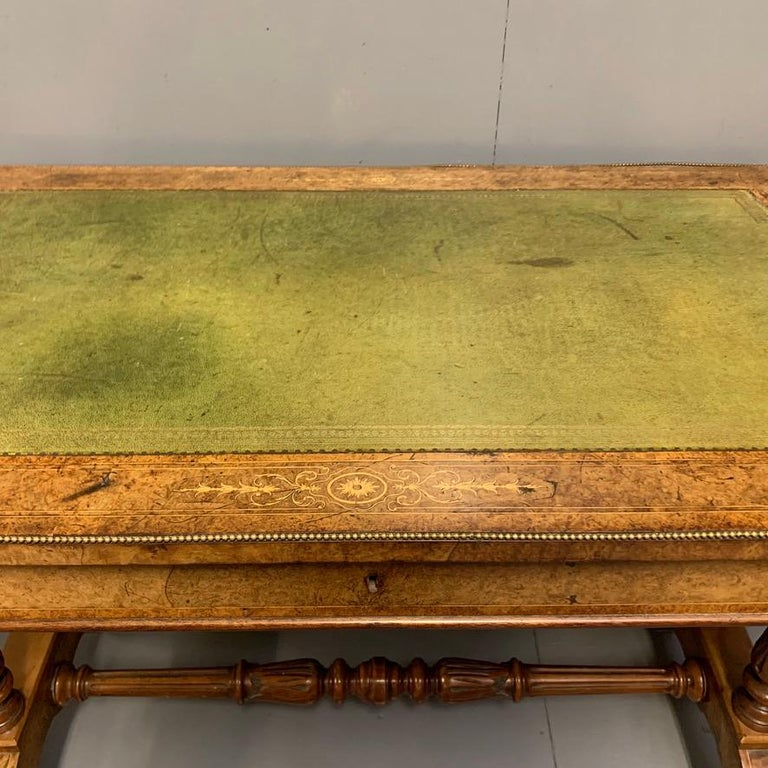 19th Century English Burr Walnut Writing Table with Sage Green Leather Top For Sale 3