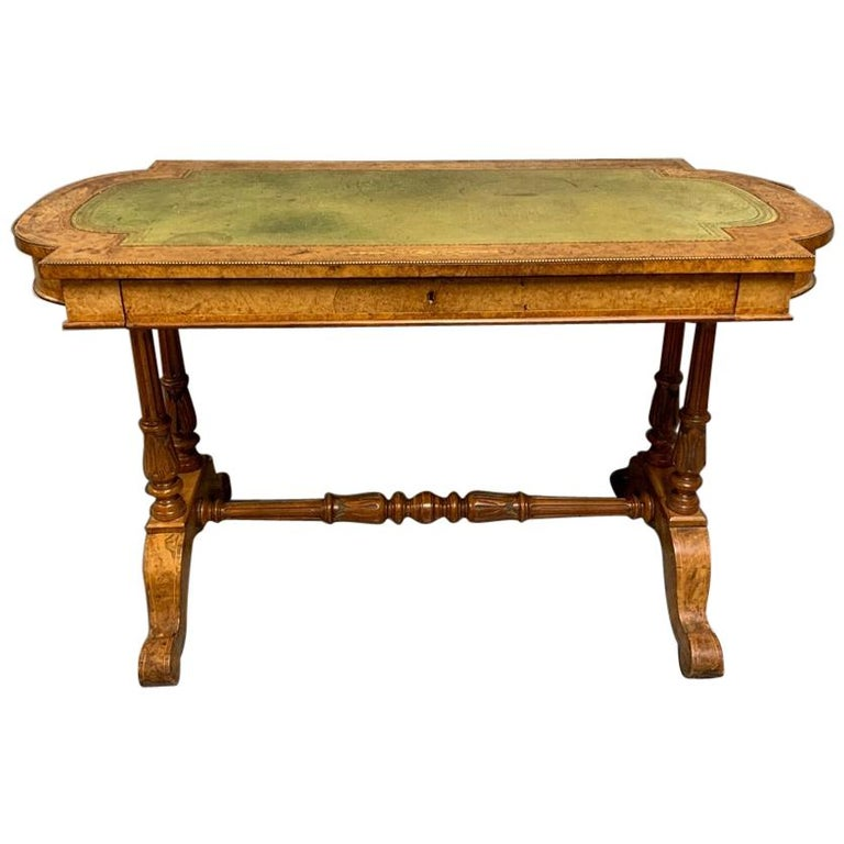 19th Century English Burr Walnut Writing Table with Sage Green Leather Top For Sale