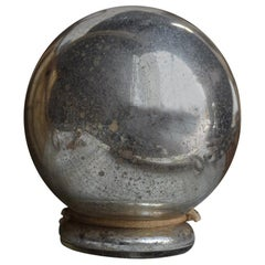 19th Century English Butlers Glass Mercury Gaze Ball