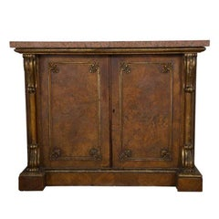 19th Century English Cabinet with Granite Top and Figured Veneer